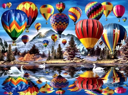 Hot Air Balloons - art, flight, beautiful, illustration, artwork, aircraft, balloons, painting, wide screen, scenery, aviation