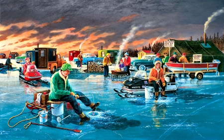 Fishing Contest - art, beautiful, illustration, artwork, painting, wide screen, scenery, sports, fishing