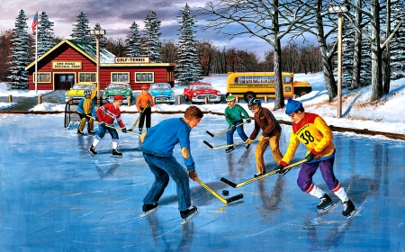 Saturday Practice - Hockey - art, beautiful, illustration, artwork, hockey, painting, wide screen, scenery, sports