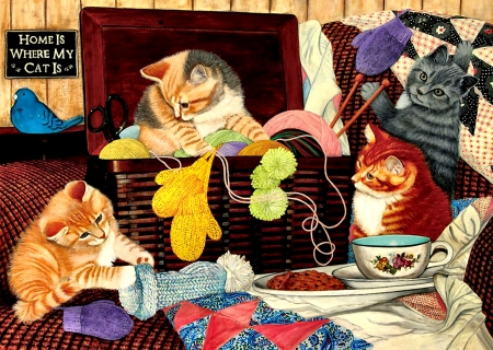 Home is Where the Cat Is - art, beautiful, pets, illustration, artwork, animal, feline, painting, wide screen, cats