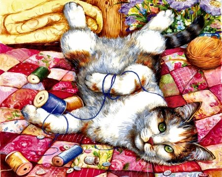 Upside Down - Cat - art, beautiful, pets, illustration, artwork, animal, feline, painting, wide screen, cats