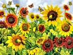 Sunflowers and Goldfinch - Birds FC