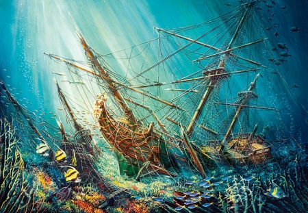 Ocean Treasure - corals, underwater, wreck, art, sunrays, fish