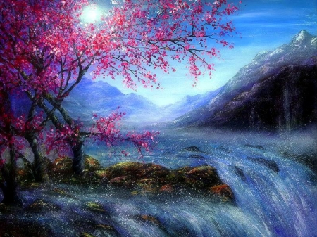 Blossom Waterfalls - falls, paintings, attractions in dreams, spring, landscapes, moons, blossom, love four seasons, draw and paint, waterfalls, nature