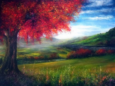 Autumn Fields - paintings, attractions in dreams, landscapes, autumn, love four seasons, draw and paint, fall season, trees, fields, nature