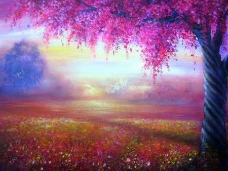 Spring Day - pink, paintings, attractions in dreams, landscapes, spring, love four seasons, draw and paint, fields, trees, nature