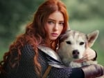 Redhead with wolf