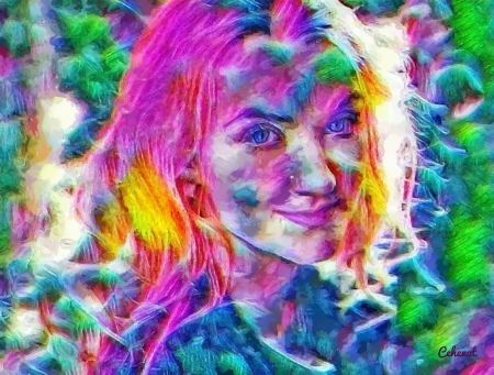 Evanna Lynch - colorful, art, harry potter, yellow, luna lovegood, cehenot, abstract, Evanna Lynch, girl, green, face, portrait, pink, blue