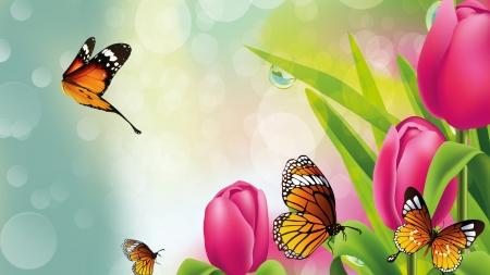 Bright Tulips Butterflies