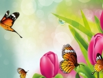 Bright Tulips & Butterflies