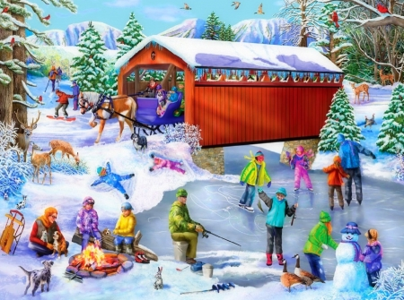 Winter Frolic - villages, Christmas, holidays, skating link, chlidren, love four seasons, attractions in dreams, snowman, xmas and new year, winter, snow, winter holidays, animals