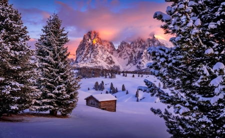 South Tyrol - rocks, hut, view, Italy, beautiful, sunset, cabin, south, winter, Tyrol, snow, mouintain