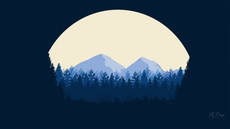 Moon Forest - forest, full moon, mountains, trees, blue, Firefox Persona theme