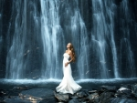 Model in Front of Waterfall