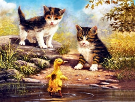 Just Been for a Swim - Cats - art, beautiful, pets, illustration, artwork, animal, feline, duck, bird, painting, wide screen, cats