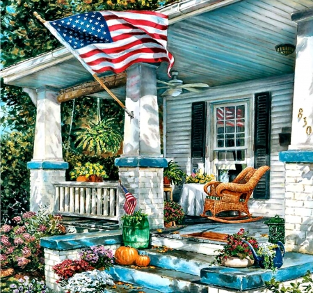 The American Way - Flag - art, holiday, celebration, beautiful, illustration, artwork, painting, wide screen, occasion, 4th of July, patriotism