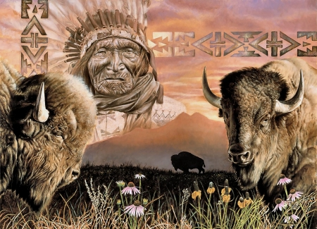 Keeper of the Plains - art, buffalo, beautiful, illustration, artwork, painting, wide screen, Native American, landscape