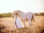 Cowgirl  Wedding In The Field