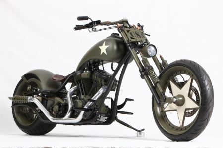 custom military chopper - military, custom, chopper, motorcycle