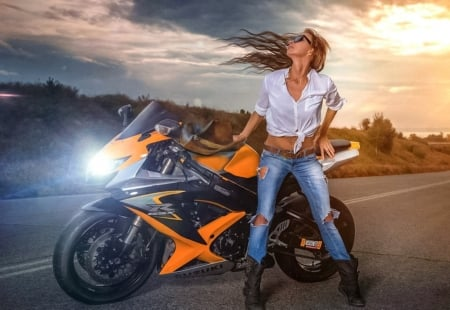 In the wind - motorbike, model, cowgirl, hairs
