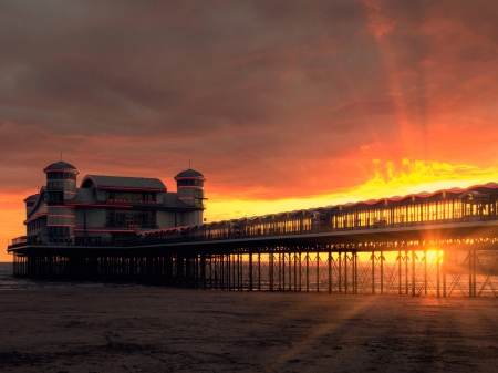 Grand Pier,England - shore, glow, pier, pierce, nature, sunset, clouds, sky