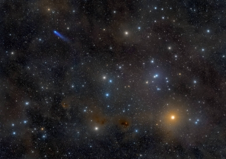 Blue Comet in the Hyades - stars, cool, comet, space, fun, galaxies