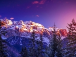 Majestic mountain peaks in winter