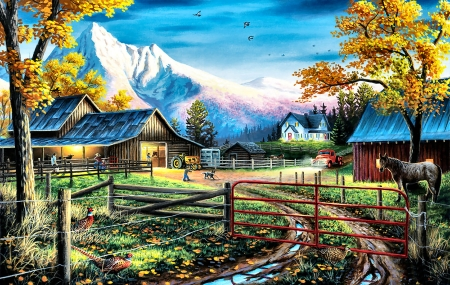 Western Lifestyle - architecture, planting, art, equine, beautiful, horse, illustration, artwork, farm, painting, wide screen, scenery, crops, landscape