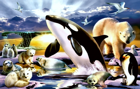 Polar Kingdom - art, orca, ocean, penquins, beautiful, illustration, artwork, seals, sea, whales, painting, wide screen, seascape, scenery, polar bear