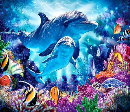 Dolphin Family - underwater, art, fish, ocean, beautiful, illustration, artwork, sea, painting, wide screen, wildlife, seascape, scenery