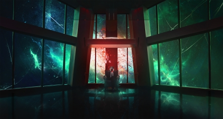 Space Throne - Dark, Explosion, Fantasy, Red, Lightning, Blue, Sci-Fi, Green, Sitting, Space, Throne
