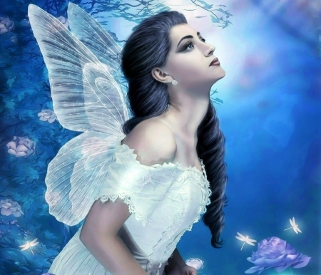 ~Praying for You~ - wings, love four seasons, creative pre-made, digital art, woman, fantasy, photomanipulation, dragonflies, weird things people wear, fairies, flowers, garden, light, blue