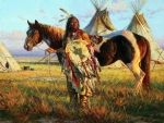 Native American  Indians And Horse