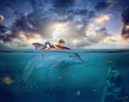 A boy's adventure - cloud, fish, tara lesher, creative, sky, sea, dolphin, boy, fantasy, water, summer, copil, child, blue