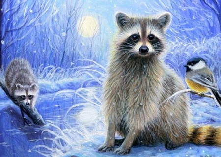 Misty Moon - moons, draw and paint, holidays, love four seasons, xmas and new year, winter, paintings, snow, winter holidays, nature, woodland, animals