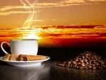 Cinnamon coffee at sunset