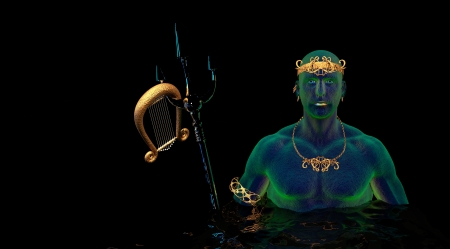 Poseidon - God of the Sea - greece, neptune, greek, hd, roman, ancient, poseidon, 4k, rome, sea, cgi, lyre, mythical, trident, god, creature
