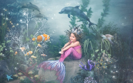 Little mermaid - underwater, fish, mermaid, siran, sea, dolphin, fantasy, water, summer, copil, child, crative, pink