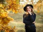 Model in Black at Autumn