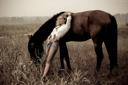 Lazy Cowgirl With Horse - Horse, Black, Cowgirl, Lazy, Woman