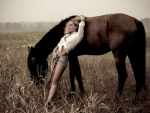 Lazy Cowgirl With Horse