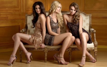 Blonde, Brunette, Redhead Beauties - sitting, blonde, sexy, redhead, gorgeous, models, chair, feminine, brunette, beautiful, Fashion