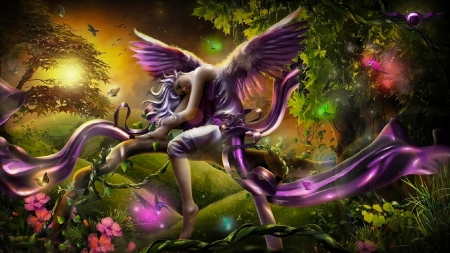 Peaceful Sunset - pretty, art, lovely, angel, beautiful, woman, fairie, fantasy, girl, purple, digital