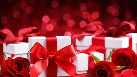 Valentine's Day - red, ribbons, roses, bows, Valentines, Valentines Day, boxes, flowers, presents, white, gifts