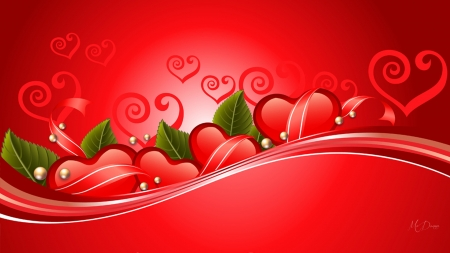 Valentine Special - red, romance, hearts, February, leaves, Valentines Day, love, pearls, Firefox Persona theme