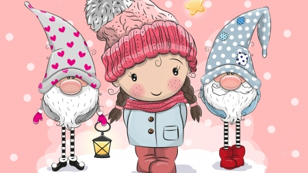 Little Sweetheart and Elves - gnomes, hearts, elves, February, Valentines Day, snow, little girl, pink, Firefox Persona theme