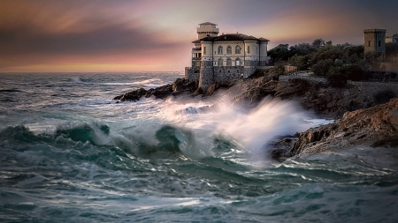 Castle Boccale - castles, medieval, nature, waves, Castle Boccale