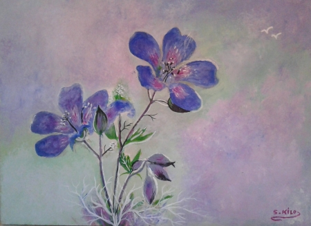 acrilic painting painted by saad kilo - color, art, nature, flower