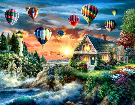 Balloons Over Sunset - art, flight, beautiful, sunset, illustration, artwork, aircraft, balloons, painting, wide screen, scenery, aviation