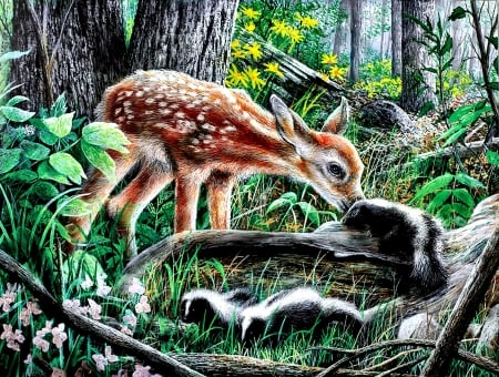 Friends of the Forest - Deer - art, fawn, skunk, beautiful, illustration, artwork, deer, animal, painting, wide screen, wildlife, nature
